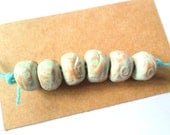 10-11mm Terra Cotta Clay Kiln Fired Beads with Distressed Soft Green Glaze, set of 6