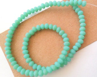 Matte Turquoise Glass 4mm Faceted Round Beads Strand, 12""
