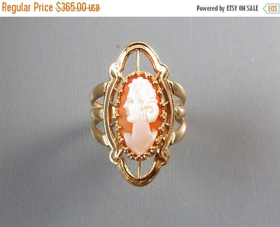 ANNUAL CAMEO SALE Vintage mid century extra wide hand carved shell cameo navette statement ring, signed A&Z Hayward / size 6-1/4
