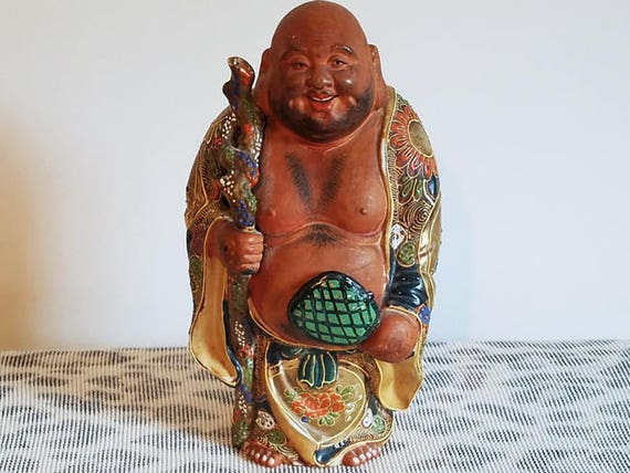 Vintage hand painted Japanese Satsuma Buddha figurine / figural / ceramic / pottery / Asian / Oriental / Japan / moriage