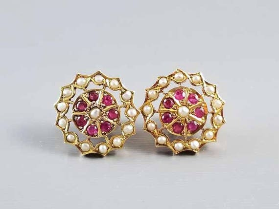 Vintage Art Deco 18k gold ruby and seed pearl threaded safety screw down post pierced halo earrings