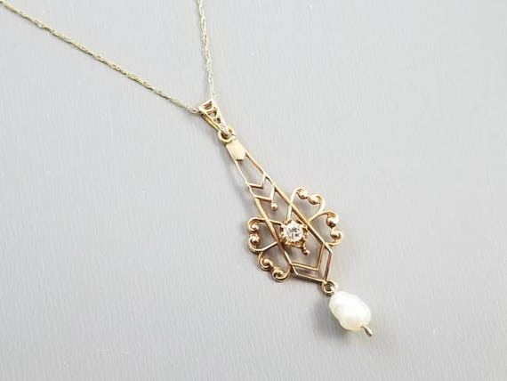 Antique Edwardian 10k gold filigree diamond and fresh water pearl drop lavalier necklace pendant