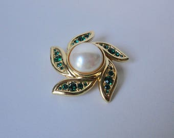 MONET gold tone with Green Rhinestones and Faux Pearl Cabochon Flower shaped  Brooch/Pin