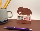 Elephant Business Card Holder, Copper Desk Accessory, Elephant gift, gift for elephant lover, elephant items, pachyderm gifts for elephants