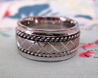 RING - CLASSIC - SPINNING -  spinner - Triple spinning bands - Detailed - Estate Sale  - 925 - Sterling Silver - Size 5  spinner255