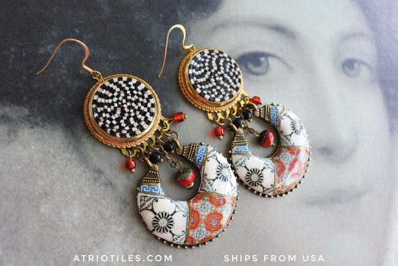 Micro Mosaic Earrings Portugal Tile Antique Azulejo  Vintage Italian  -  Retro Red Black Bohemian Boho Gypsy OOAK