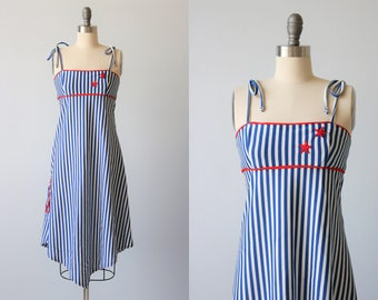 1970s Red White Blue Sundress / 1970s Fashion / High Low Hemline / Size S
