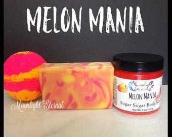 Melon Mania Bundle - Tropical Bath Set - June Scent of the Month - Limited Edition - Handmade Bath Bomb - Sugar Scrub - Soap