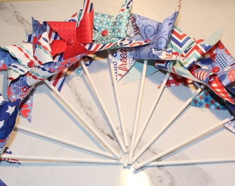 NEW - Americana Decorative Pinwheels (Qty 10)  Decorative Pinwheels, Patriotic Pinwheels,
