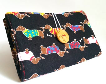 Black Clutch Tampon and Pad Case Gift for Teen Girls Weiner Dog Handmade Fabric Privacy Wallet - Hot Doggity