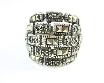 Size 7 3/4 Vintage Marcasite Large Sterling Silver Ring
