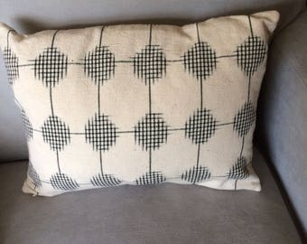 White with Black Design Throw Pillow. Handwoven. Geometric Design