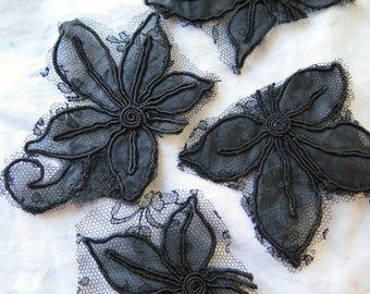 Antique Silk Appliques in Organza and Chantilly Lace in Black Set of 5  Assorted Dress Remnants