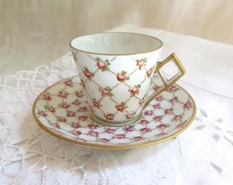 Antique Dresden Demi Tasse/ Espresso Cup and Saucer Pink Rose and Gilt Trellis
