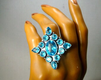 Large Blue Topaz Stones &  Sterling Silver Ring, Size 7.5, Statement Bezel Set Gemstones,  Artsy Boho Stunning Finger Ring