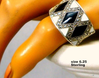Art Deco Sterling Silver & Marcasite Ring, Marked 925, 1980s, Black and Cream Enamel Band is American Size 6.25 Ladies Finger Ring