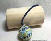 Teenie Temari Scissor/Bag Fob/Ornament -  Yubinuki with Amime & Seed Stitch Design; Blue, Yellow