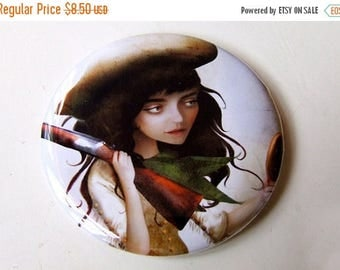"""50% Off SALE Annie Oakley Cowgirl Pocket Mirror """"The Little Sharpshooter"""" Sureshot Girl with Rifle Shooting Playing Cards Round 2 1/4""""  Mirr"""