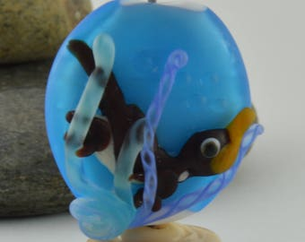 PLATYPUS, Blue Bead, Etched Bead, Water, Ocean,  Glass Sculpture Collectible, Focal Bead, Izzybeads SRA