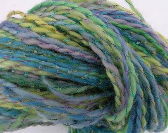 Hand spun BFL fiber. Pastel color yarn.  Easter colors. Easter yarn.Consuelo de mi alma.