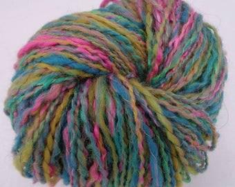 Hand spun BFL , shetland, merino, teeswater fiber .Pastel color   hand spun yarn. Meadow by Monet.