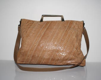Varon purse in tan snake skin