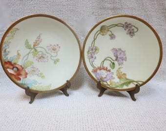 A Pair(2) of Decorative Porcelain Plates in Art Nouveau Style - Limoges Elite Works Signed Handpainted