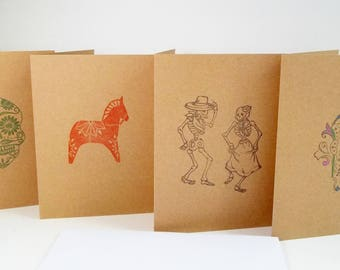 """Mexican Folk Art Note Cards, Set of 4 Handstamped Cards 4"""" X 5.5""""  Kraft Blank Greeting Cards and White Peel and Stick Envelopes, Skeletons"""