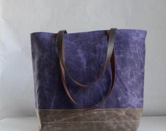 Purple Waxed Canvas Tote Bag with Leather Straps - Ready to Ship
