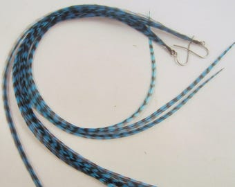 blue Feather Earrings long thin grizzly hand dyed
