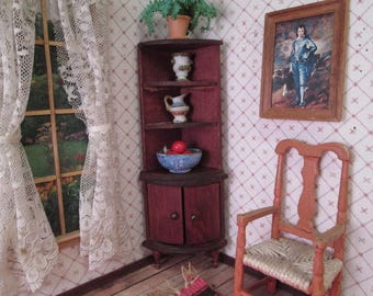 """Red Stained Furniture for Doll House - Corner Shelf and Cabinet 1"""" Scale - Made in Germany 1920"""