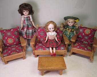 Vintage Pert Pat Doll Furniture - 1950's - 4 Pc Living Room Set - Play Scale 1/6