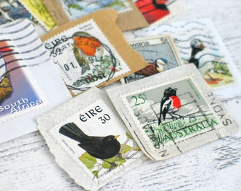 Vintage Bird Postage Stamps for Scrapbooking Junk Journals Planners used Postal Stamps for Collage Mixed Media Kids Crafts Papercrafting