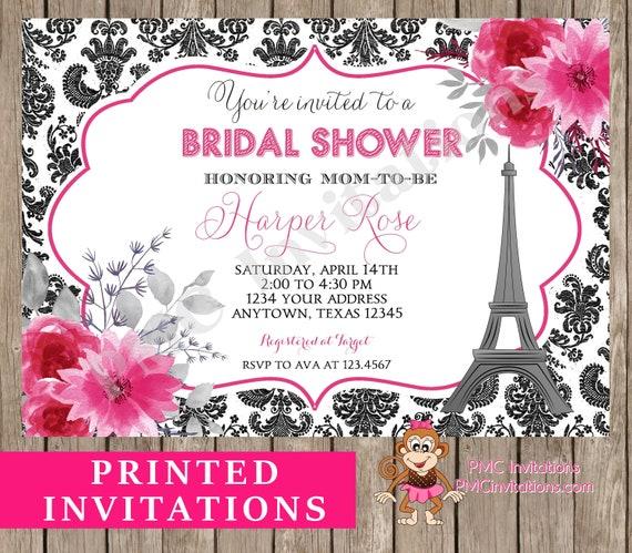 Custom Printed Paris Bridal Shower Invitation Pink Floral Damask