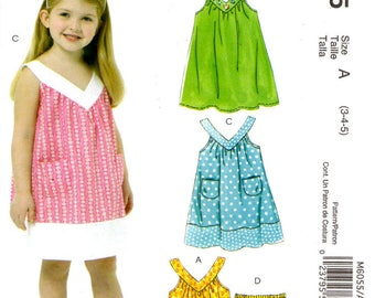 Sewing Pattern - McCalls 6055 Easy Stitch N Save - Girls Top Dress and Shorts - Sizes 3-4-5
