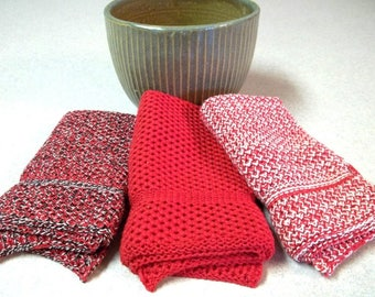 Dishcloths/Wash Cloths Knit in Cotton in Red, Red/Off White and Red/Black Marl