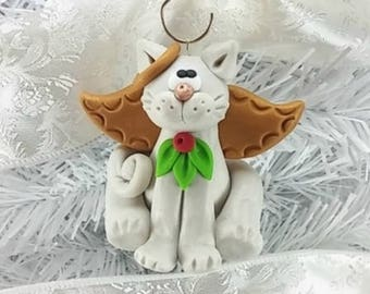 Angel Cat Christmas Ornament - Gift for Cat Owner - Pet Owner Ornament - Memorial Cat Angel -6264