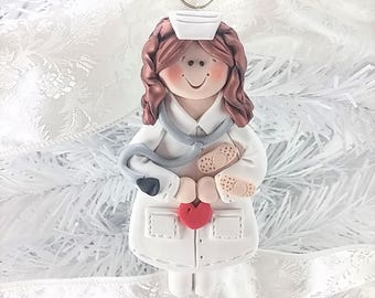 Polymer Clay Nurse Christmas Ornament - RN Ornament - LPN Ornament - Gift for Nurse -741