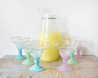 vintage Blendo margarita glasses set, 60s colorful frosted cocktail set with pitcher, mid century barware