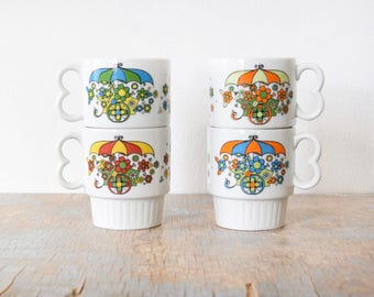 stackable floral mugs, vintage 70s flower cart coffee mugs, mod flower power white ceramic coffee cups