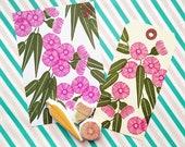 eucalyptus rubber stamp set | flower & leaf | australian botanical stamp | diy birthday | nature lover gift | hand carved by talktothesun