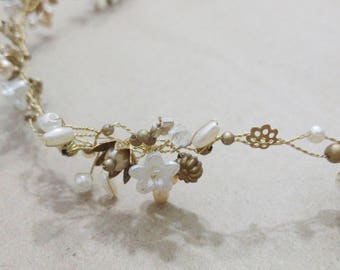 Ethereal Floral Halo, bridal accessories, hair accessories, romantic wedding, bridal tiara, bridal halo, floral halo, pearl bridal halo