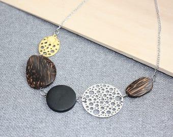 collier court hippie boheme acier inoxydable or noir argent bois ajustable