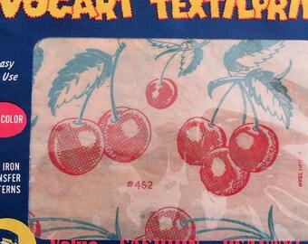 Vintage Vogart Textilprints Hot Iron Transfer Pattern 462 Red Cherries Kitchen Motifs