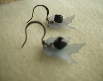 Gray Acrylic Leaf Earrings
