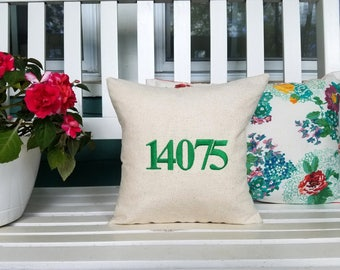 free shipping / zip code pillow / embroidered / personalized gift / graduation / moving / housewarming / gift / welcome / teacher /