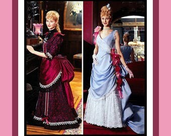 Stunning Victorian Draped Bustle Gown with Train-Historical Costume Sewing Pattern-Two Styles-Tiered Bustle Back-Uncut Size 14-20-Mega Rare