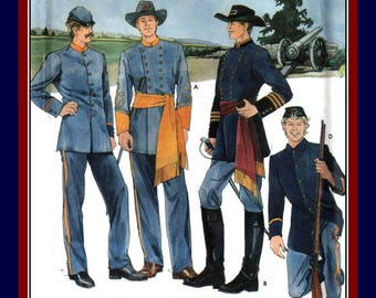 Vintage 1996-CIVIL WAR UNIFORMS-Historical Sewing Pattern-Confederate and Union Styles-Officer-Infantrymen Military Uniforms-All Sizes-Rare