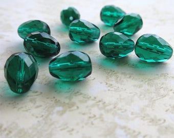 Emerald green faceted pressed Czech glass beads 12mm drop