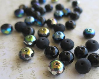 Black firepolished rondelles pressed Czech glass beads 8mm